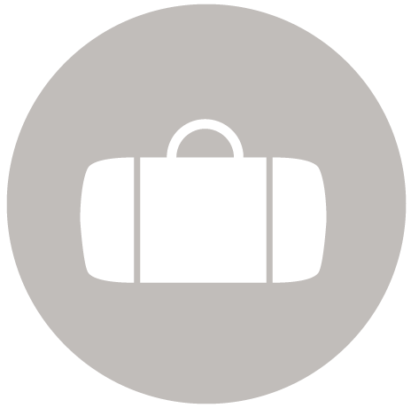 A light brown Luggage Suitcases Bag Icon.This is a A & B transportation icon of a Luggage Suitcases Bag that represents guests arriving in south florida.