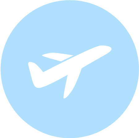 This is a blue icon of a plane taking off. This image symbolize A & B transportation being ontime to take you to and from the airport or cruise ontime.